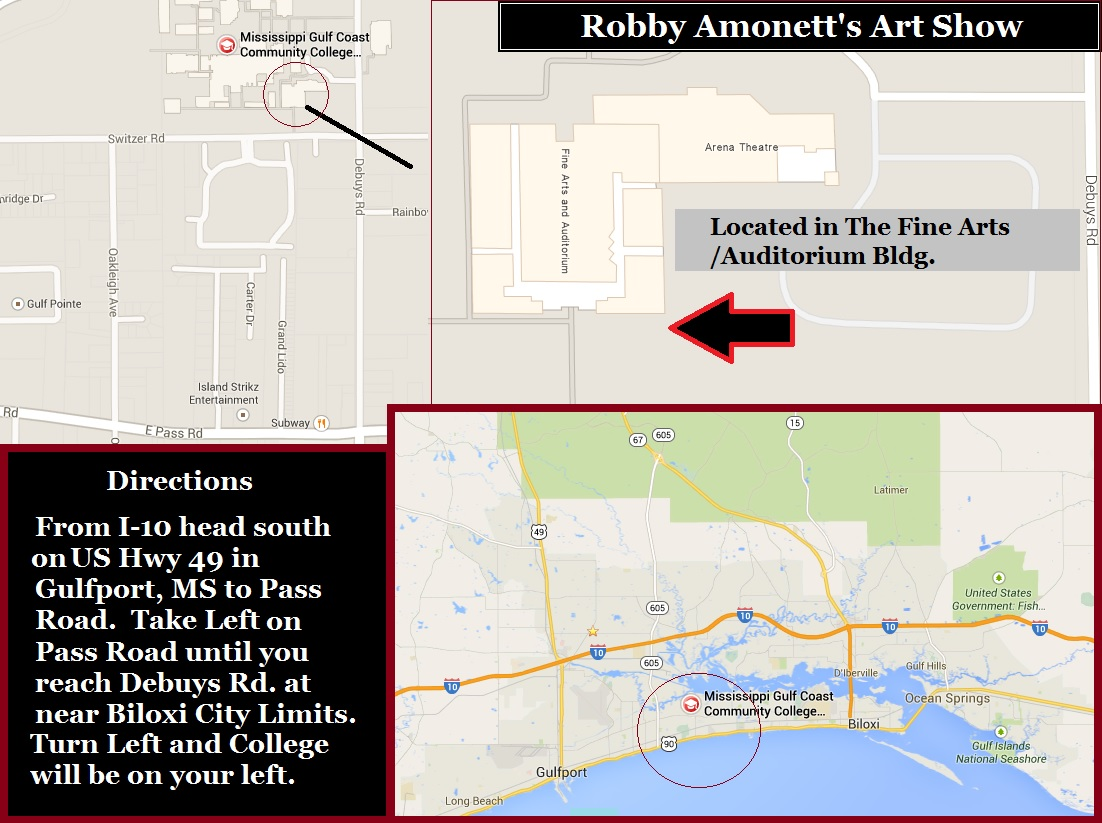 Map to Robby Amonett's Art Exhibit